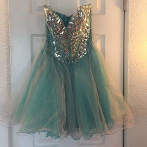Sherri Hill 1403 strapless beaded dress